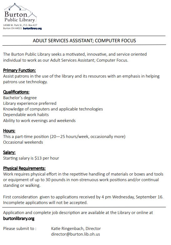 Adult Services Assistant